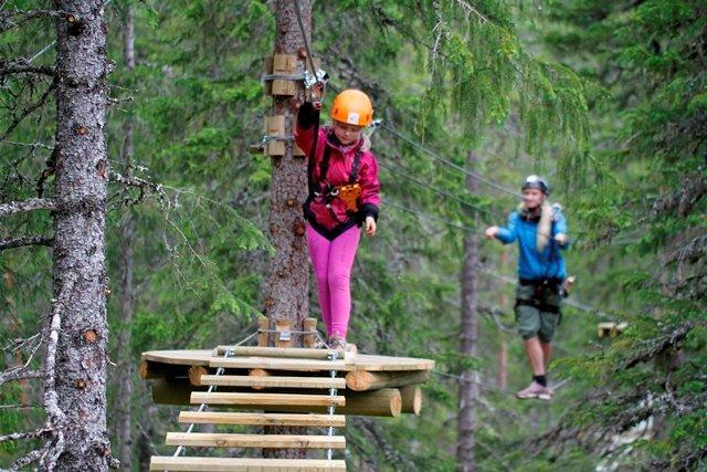 Klatreparken Rypetoppen Adventurepark i Meråker, Trøndelag, Foto: Lene-Mari Prøven